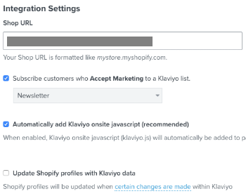 Klaviyo Shopify integration